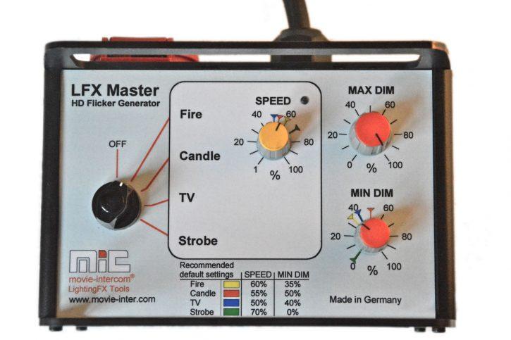 LFX Master dim flickerbox control panel