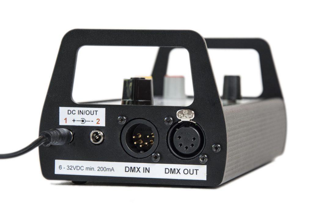 LFX Master DMX Flackergenerator: DC IN/OUT, DMX IN/OUT