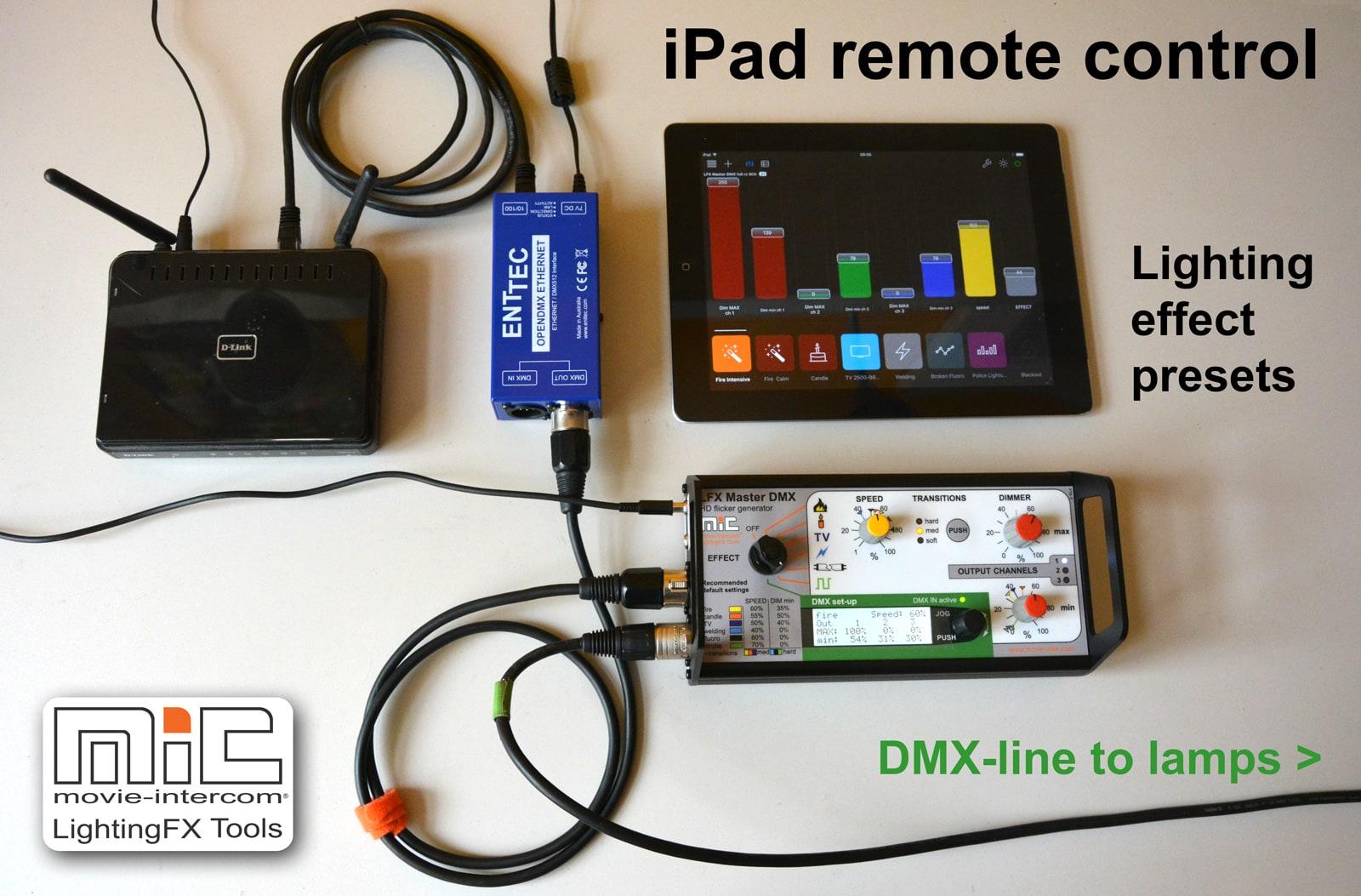 ipad remote control of LFX Master DMX flicker box and LED fixtures