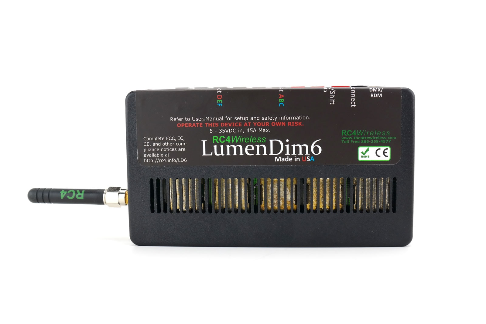RC4 Wireless: LumenDim6, 42 Amps- Wireless DMX receiver dimmer