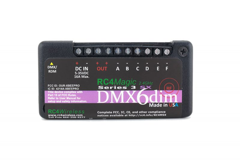 RC4 Wireless: RC4 Magic M6-channel, miniature - wireless DMX receiver dimmer