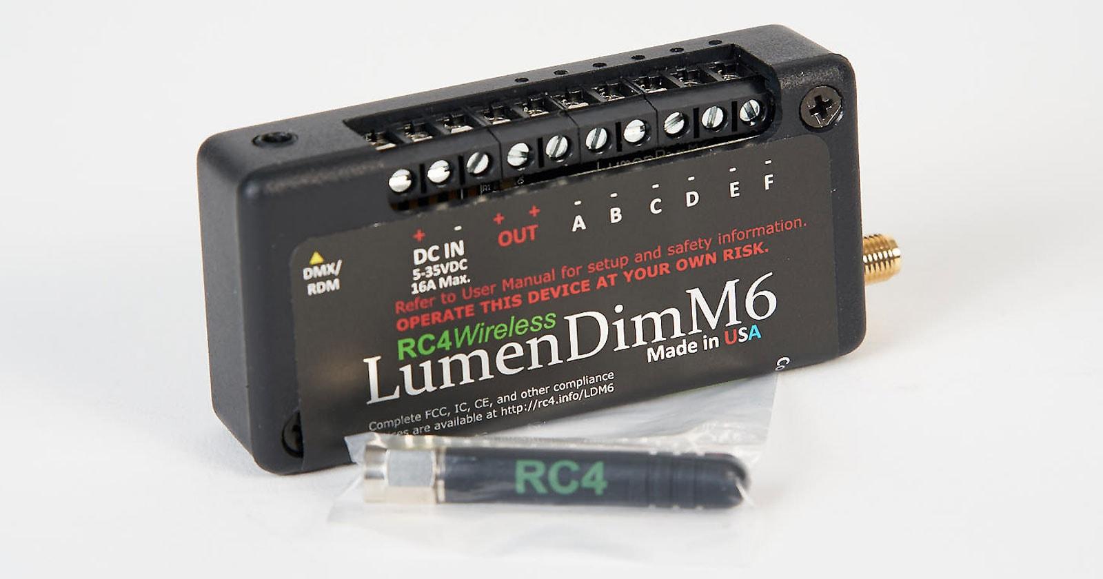 LumenDimM6 Miniature CRMX wireless DMX dimmer, 6 channels